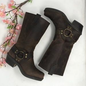 Distressed Leather Harness Motorcycle Boots 6.5 M